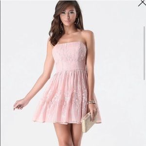 NWT Bebe Strapless Fit & Flare Pale pink dress